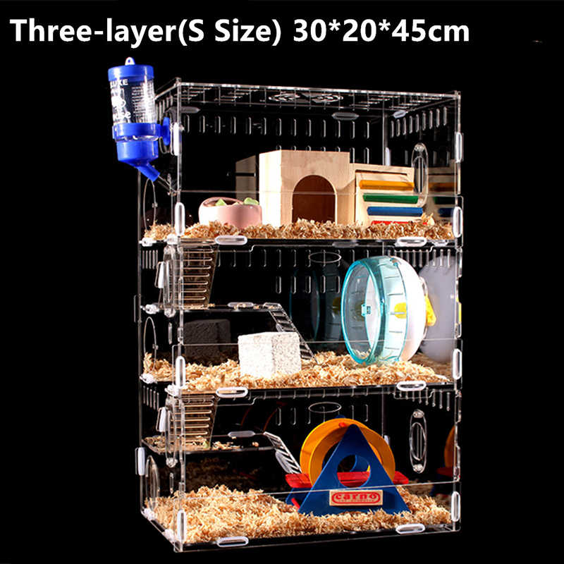 ขนาดใหญ่หนูแฮมสเตอร์กรงตลก Guinea Pig Cage อะคริลิคสัตว์เลี้ยงขนาดเล็ก Mice House Chinchilla Ferret Hedgehog Hamster อุปกรณ์เสริม