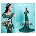 New Maternity Photography Props pregnant women Long trailling Dress elegant Green Princess mermaid Baby Shower Photo shoot