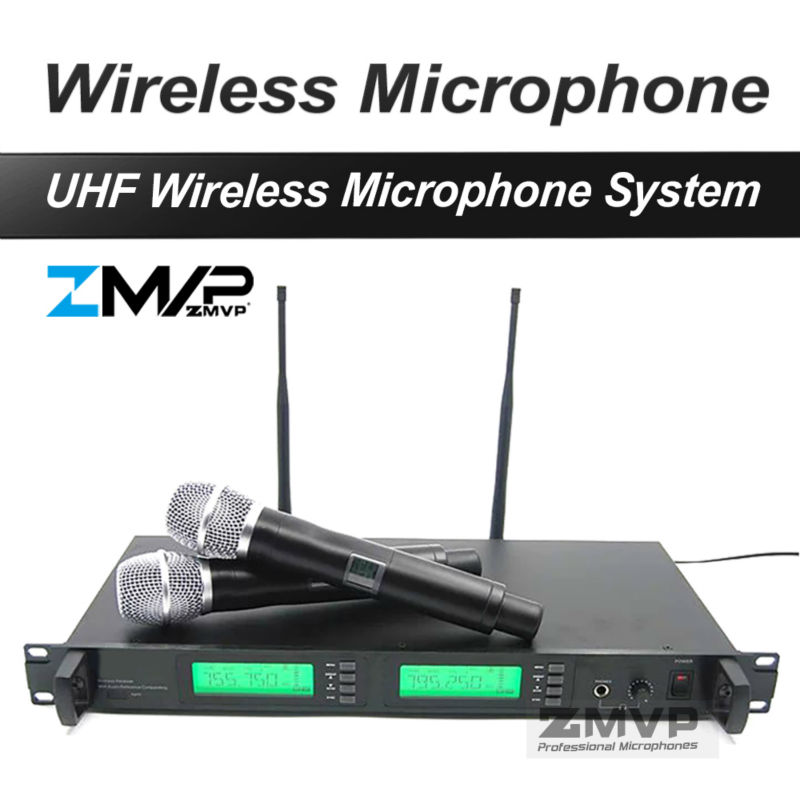 Freeshipping Professional PLL True Diversity UHF Wireless System With Dual Handheld Wireless Microphone Stage Karaoke  top quality professional true diversity single handheld wireless mic microfone uhf wireless microphone system perfect for stage
