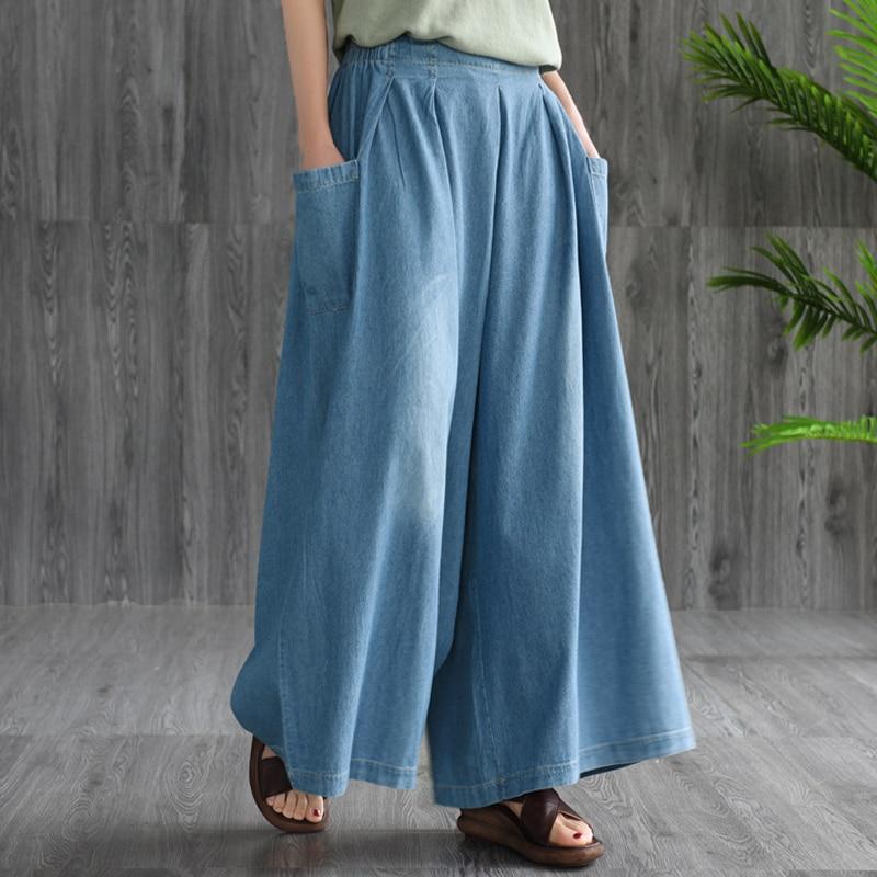 Brand Wide Leg Pants Female 2019 Loose High Waist Jeans Woman Streetwear Elastic Waist Casual Pants Blue Plus Size Jeans Lady