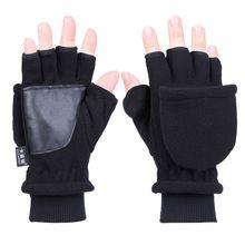 29e6711c146164 Frauen Männer Winter Polar Fleece Halb Finger Flip Handschuhe Doppel  Schicht Verdicken Touchscreen Fingerlose Cabrio Fäustlinge