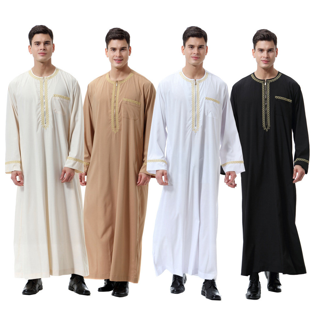 Men Thobe Solid Color Round Neck Long Sleeves Zipper Arab Muslim Wear -MX8