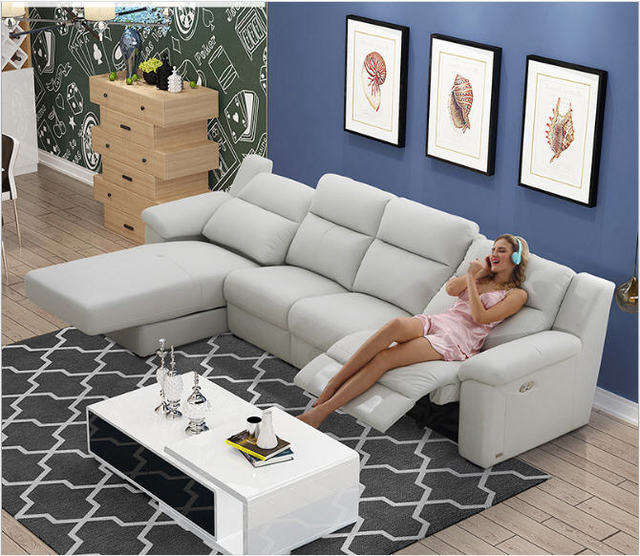US $1519.05 5% OFF|Living Room Sofa electric recliner sofa real genuine cow  leather sectional sofas neoclassical muebles de sala moveis para casa-in ...