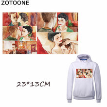 ZOTOONE Couple Love Patches Heat Transfer for Clothing DIY T-shirt Stripes Applique Custom Stickers Iron-on Transfers E