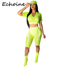 Echoine Tracksuit Women Two Piece Outfits Hooded Top+ Pants Bodycon Suit Sportwear Fluorescent Green Clothes 2019