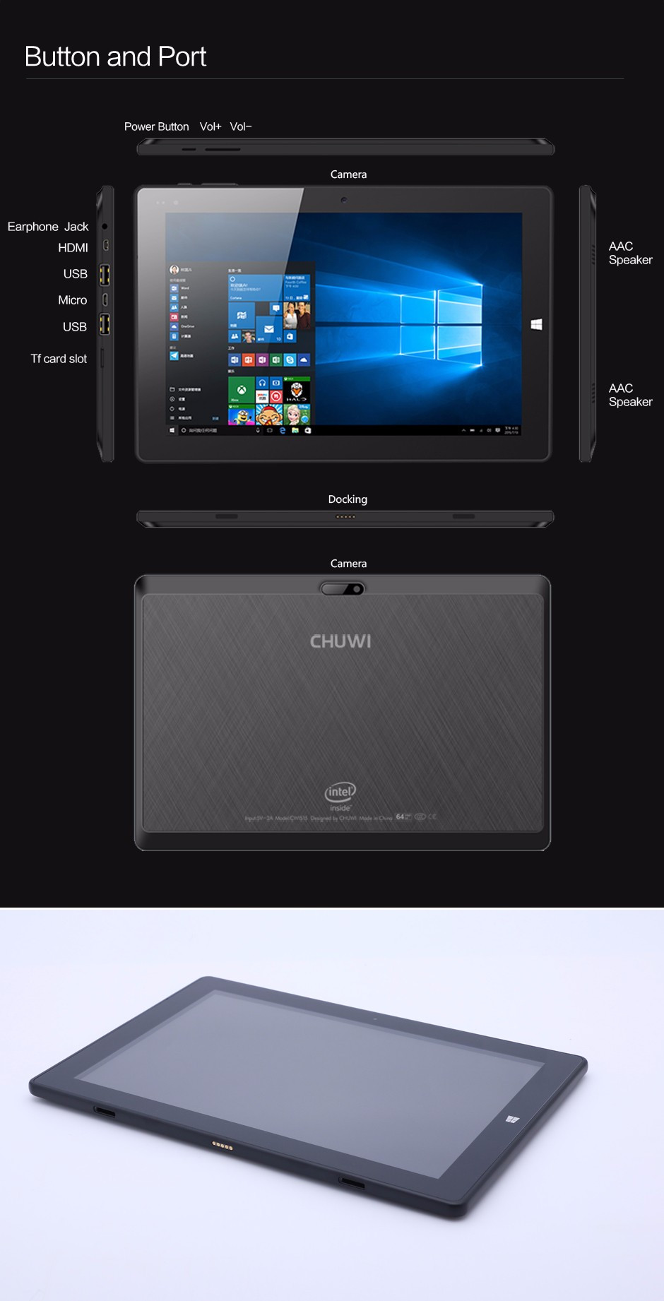 CHUWI HI10 WINDOWS 10 TABLET PC INTEL ATOM CHERRY TRAIL Z8300 9
