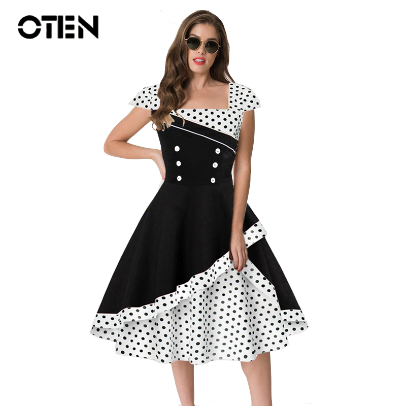 OTEN Summer Dress 2019 Cute Pin Up Vintage Retro 50s 60s Elegant Women Polka Dot Printed Short Sleeve Party Gown Skater Dresses