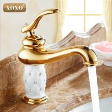XoxoFree Grátis bacia do banheiro torneira de ouro, bronze com Diamante/cristal corpo da torneira Novo Único Punho quente e fria da torneira 50015GT(China (Mainland))