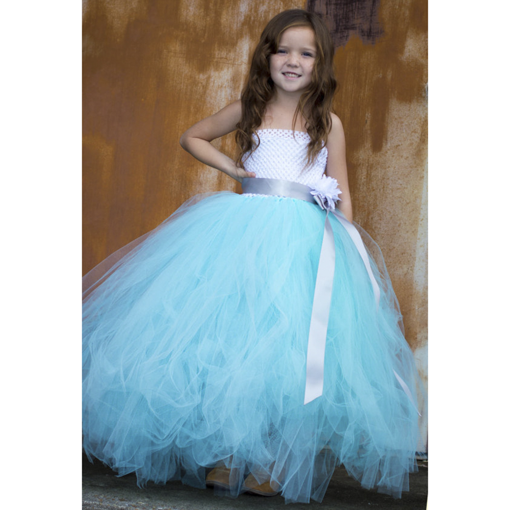 Wedding Dress With Aqua Sash - Flower Girl Dresses
