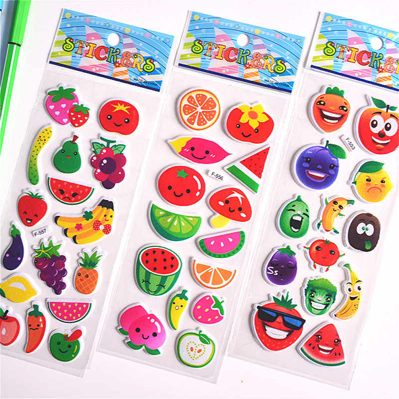 3D Puffy Bubble Stickers Fruits Cartoon Princess Cat Waterpoof DIY Baby Toys for Children Kids Boy Girl
