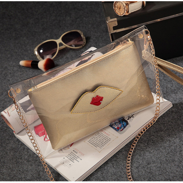 Fashion Woman See Through Bags Designer Handbag Pvc Transparent Envelope Clutch Lady Chain Shoulder Bag