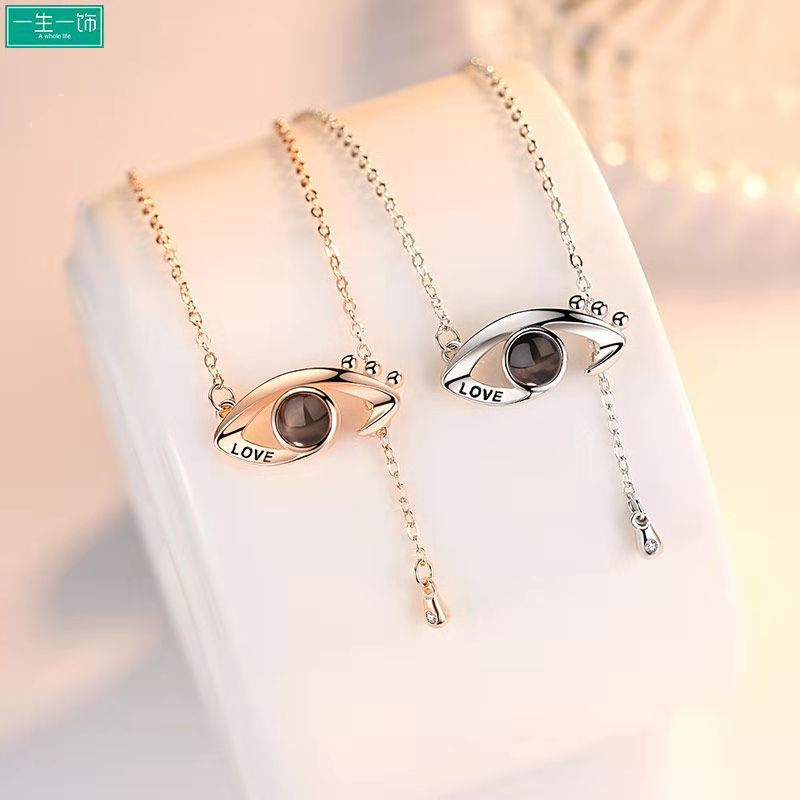 1 PC Projection Necklace Memory Love 100 Languages Devils Eye Clavicle Chain Couple gift