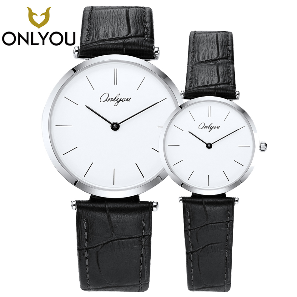 ONLYOU 2PCS Simple Men Watch Lovers Black Leather Band Ladies Fashion Casual Women Watches Business for boys Relogio Feminino rigardu fashion female wrist watch lovers gift leather band alloy case wristwatch women lady quartz watch relogio feminino 25