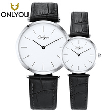 ONLYOU 2PCS Simple Men Watch Lovers Black Leather Band Ladies Fashion Casual Women Watches Business for boys Relogio Feminino