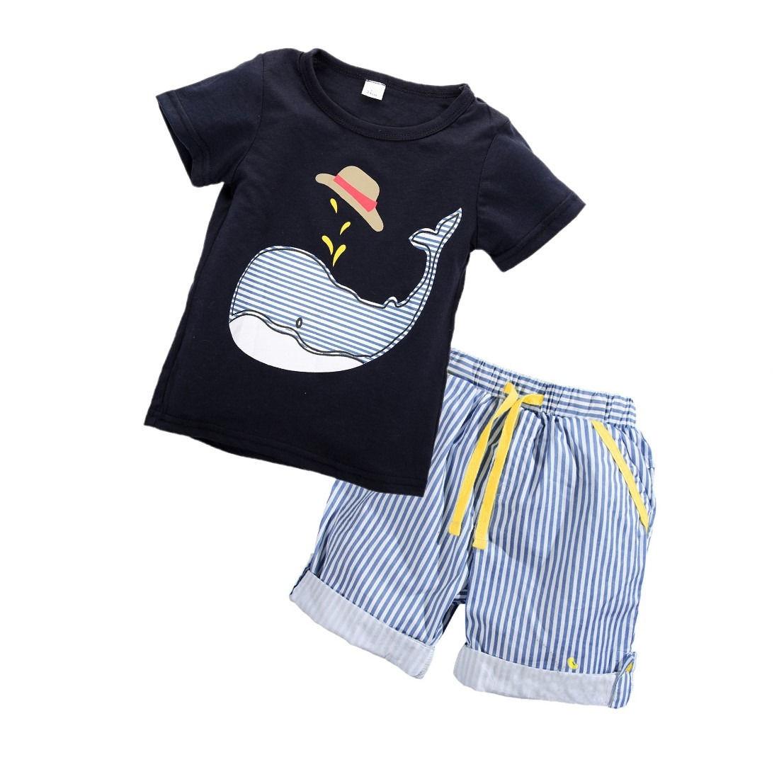 Летний комплект одежды из 2 предметов Дети Одежда для мальчиков короткий рукав принт футболки Шорты для женщин Повседневное детская одежда ...