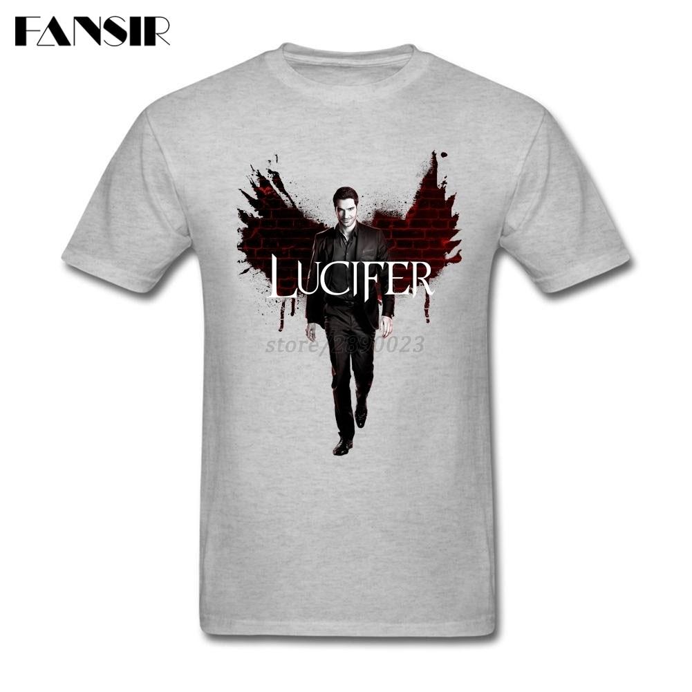 XS-3XL Programa de televisión Lucifer Top Designing Shirts Men Boy Manga corta de algodón personalizada Hombres Camisetas Camisetas tops de la familia