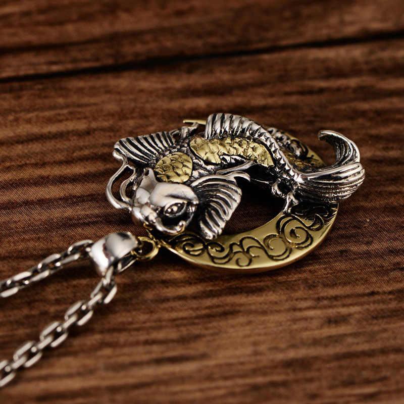 Тайский серебряная Луна и милый кулон в виде рыбы для благословение Brimful счастье чистый 925 Серебряные ювелирные изделия лучший подарок талисман амулет