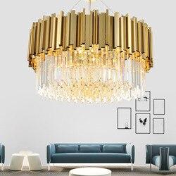 Nowy  luksusowy  kryształowy żyrandol oświetlenie nowoczesna lampa do salonu jadalnia złota kristallen kroonluchter światła LED w Wiszące lampki od Lampy i oświetlenie na