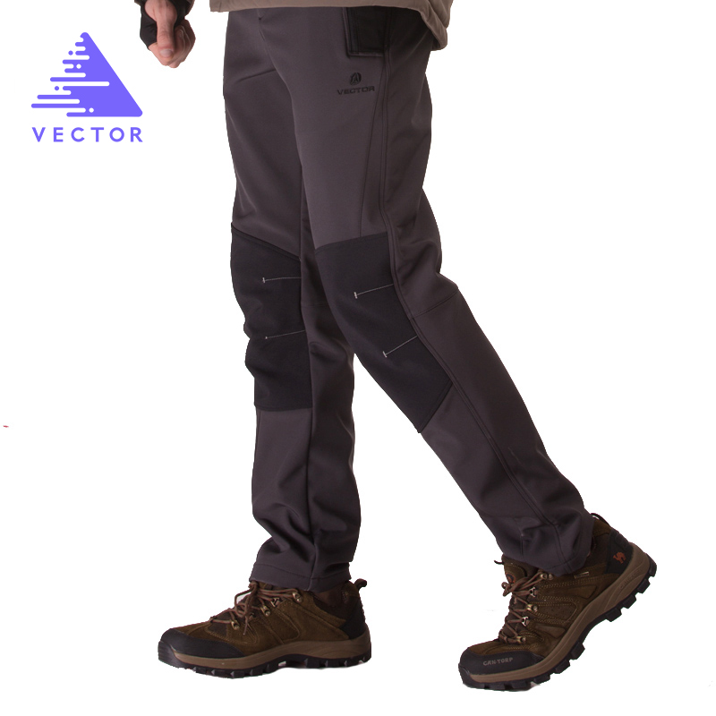 VECTOR Waterproof Hiking Pants Men Warm Fleece Thicken Outdoor Softshell Pant Mountaineering Climbing Trekking Camping Trousers