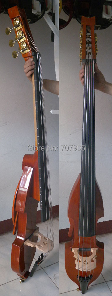 3/4 new 5 string   Electric Upright Double Bass Finish silent Powerful Sound  001201# 00120 1 4 string brown 3 4 new electric upright double bass finish silent powerful sound
