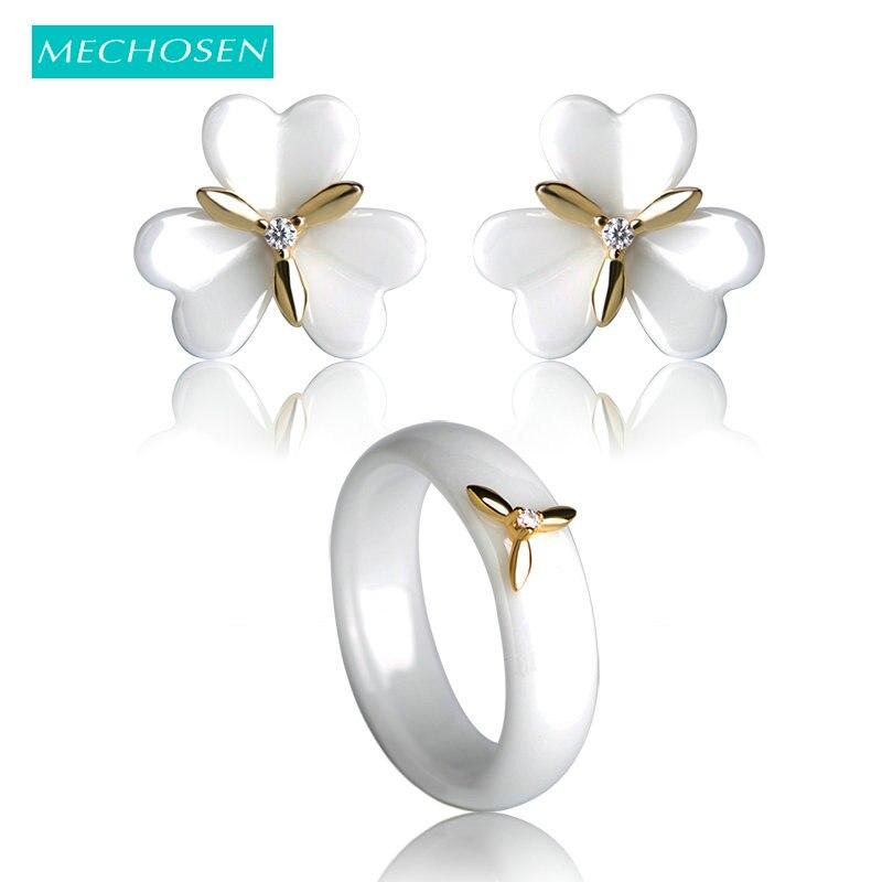 купить MECHOSEN White/Black Ceramic Jewelry Sets Earrings & Rings Ear Piercing Copper Flower Stud Earring AAA Zircon Porcelain Anillos по цене 972.36 рублей