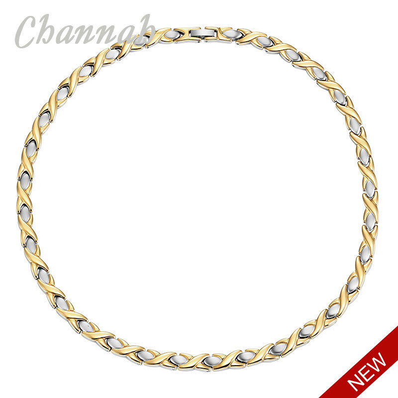 Channah 2017 4 in 1 Stainless Steel Women Necklace Ladies Magnetic 2 Tone Gold Silver Bio