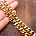 Yellow Gold Plated 13.5mm 24'' Fashion Curb Link  Chain Necklace  Stainless Steel  In Men's Jewelry High Quality