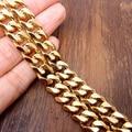 Ouro amarelo Chapeado 13.5mm Curb Chain link Colar 24 ''Moda Jóias masculinas Em Aço Inoxidável de Alta Qualidade