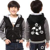 Winter Naruto Jacket For Boys Kids Anime Uchiha Sasuke Cosplay Coat Uzumaki Naruto Hoodie Harajuku Thick