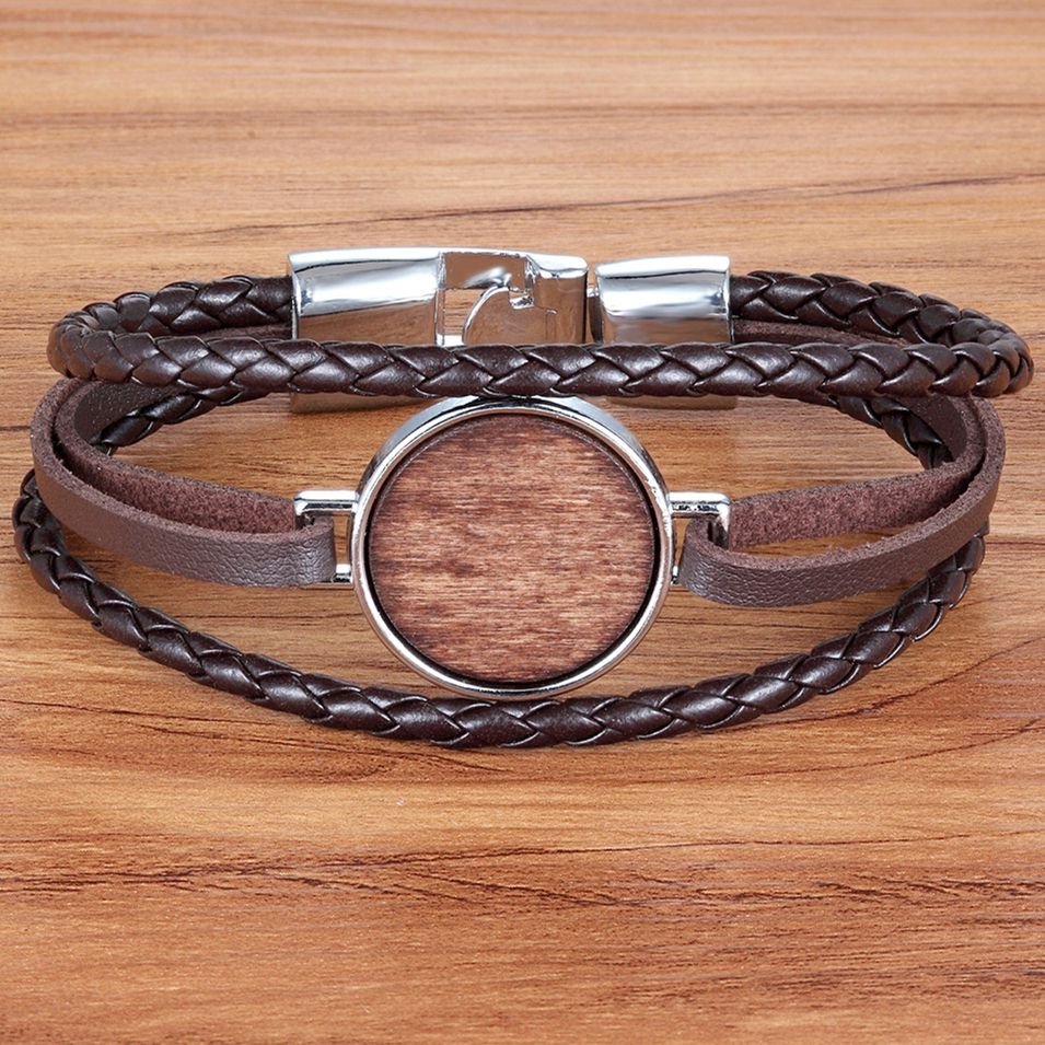 TYO Punk Style Braided Leather Bracelet Multi-layer Rose Chain Combination Wood Accessories Leather Bracelet For Men Simple Gift