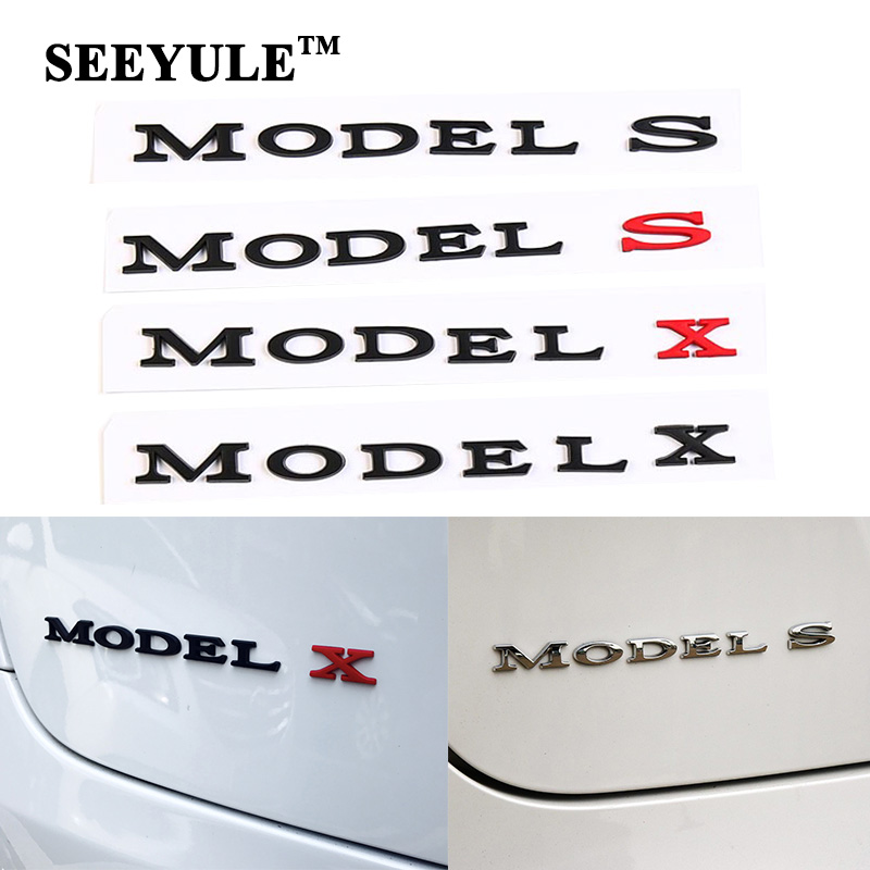 1pc SEEYULE 3D Car Model Emblem Model S Model X Sign Logo Creative Stylish Modification Sports Sticker for Tesla Accessories
