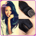 Brazilian silk lace closure black straight hair unprocessed cheap human virgin weave extensions with Bleached Knots closure