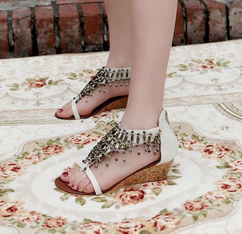 Est Chaussures Manières National Sandales Bohême Compensés Femelle Antiques Vent Han kaki Des Reconstituant marron ivoire String Pendentif Le Gland Édition Talons Romaines Noir 5waYxOqIO