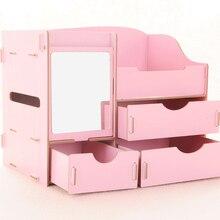 DIY деревянная коробка большая емкость многофункциональный ящик для хранения макияж организатор коробка ювелирных изделий ящик организатор