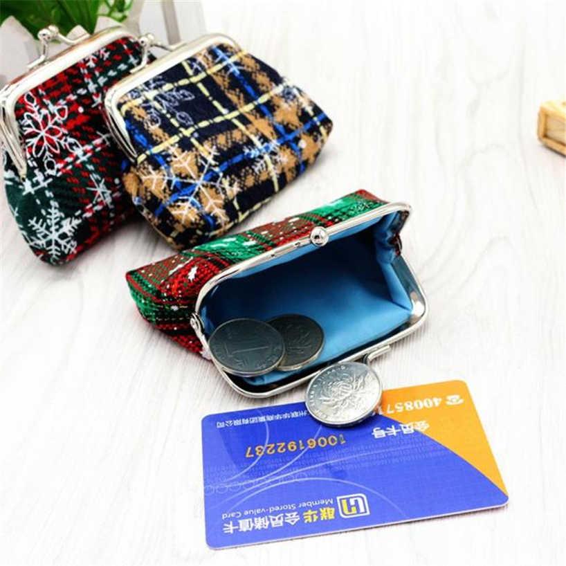 Aelicy Wanita Lady Retro Mini Tote Tas Natal Hadiah Koin Dompet Gesper Kecil Dompet Gantungan Kunci Tas Penyimpanan dompet