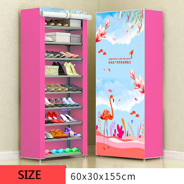 8 Layer 10 Layer Combination Shoe Cabinet Simple Cloth Fabric Storage Shoes Rack Folding Dust-proof Shoe Shelf DIY Furniture 4