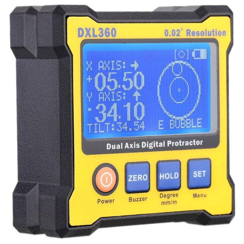 Rapporteur d'angle numérique, détecteur d'angle numérique double axe Dxl360 avec inclinomètre haute précision à Base magnétique 5 côtés 50-60Hz