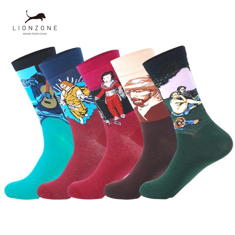 Men Cotton Socks Van Gogh Napoleon Jesus Mona Lisa Retro Art Sokken Hiphop Meia Colorful Winter Happy Socks Funny