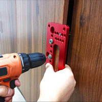Blue/Red Wardrobe Door Cabinet Positioner Punch Locator Drill Guide Woodworking Tool