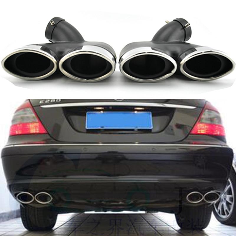 2X Stainless Steel Car Exhaust Pipe Muffler Tips For Mercedes Benz W211 E Class E240 E280