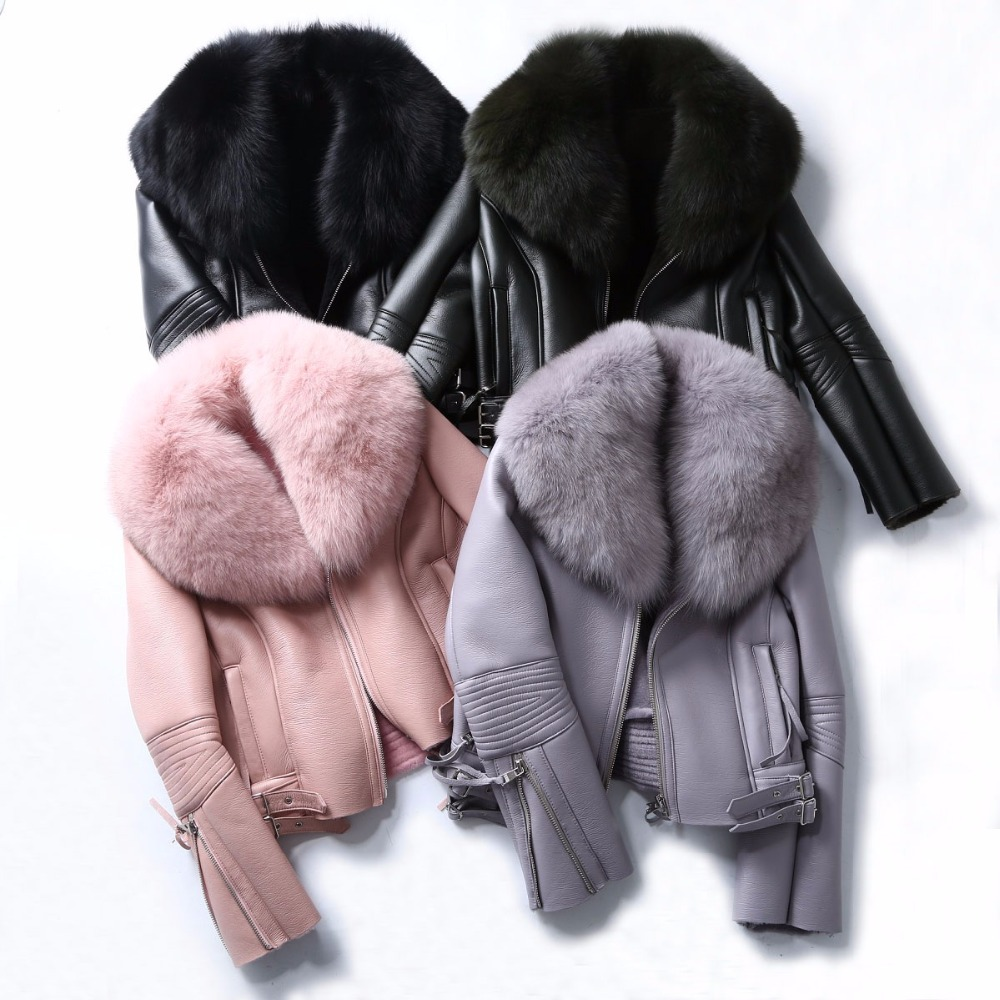 Maylofuer Real Fox Fur Coat Genuine Leather Sheepskin Jackets Women Fur Coats Short Design