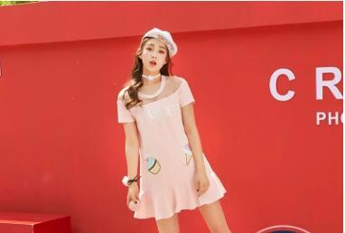 D'été Rose Printemps Sweet Robe Princesse Glace Lolita Maille Brodé Institut Vc147 Doux Et Épaule Crème Femmes Couture 4fXn4aA
