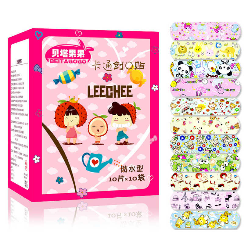 50Pcs Children Dreathable Waterproof Wound Patch Waterproof Bandage Cartoon Cute Band-Aid Hemostatic Adhesive Medical Band-aid