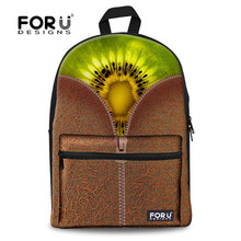FORUDESIGNS 2019 fashion kiwi fruit print school bags yellow