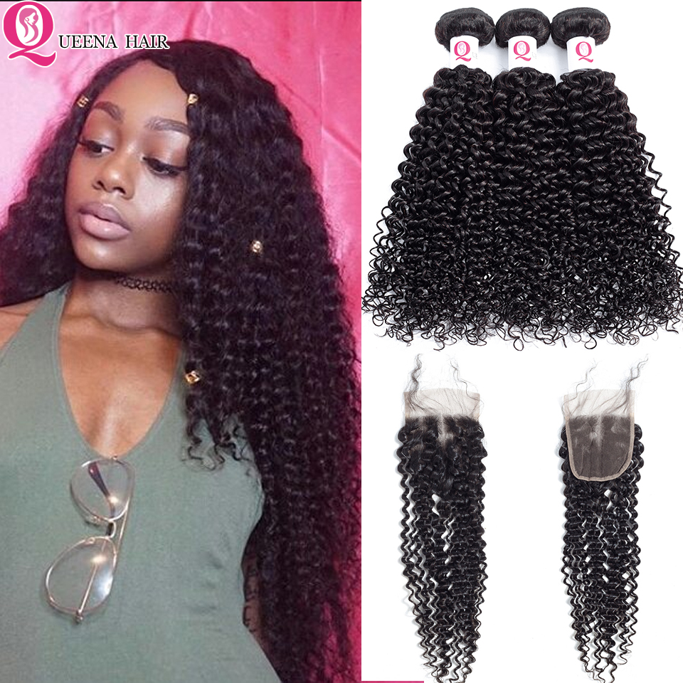 Cheap Burmese Curly Weave Hair Bundles With Closure Remy Kinky Curly Human Hair Extensions With Closure Free/Middle/Three Part