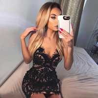 Seamyla Club Vestidos Summer New Sexy Women Bodycon Bandage Dress Sleeveless Mini Black Lace Celebrity Evening Party Dresses