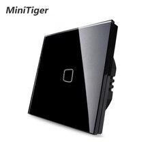 Minitiger Luxe Muur Touch Sensor Schakelaar Eu/Uk Standaard Lichtgrijs Kristalglas Touch Schakelaar Power 1/2/3 gang 1 Manier Ac 220