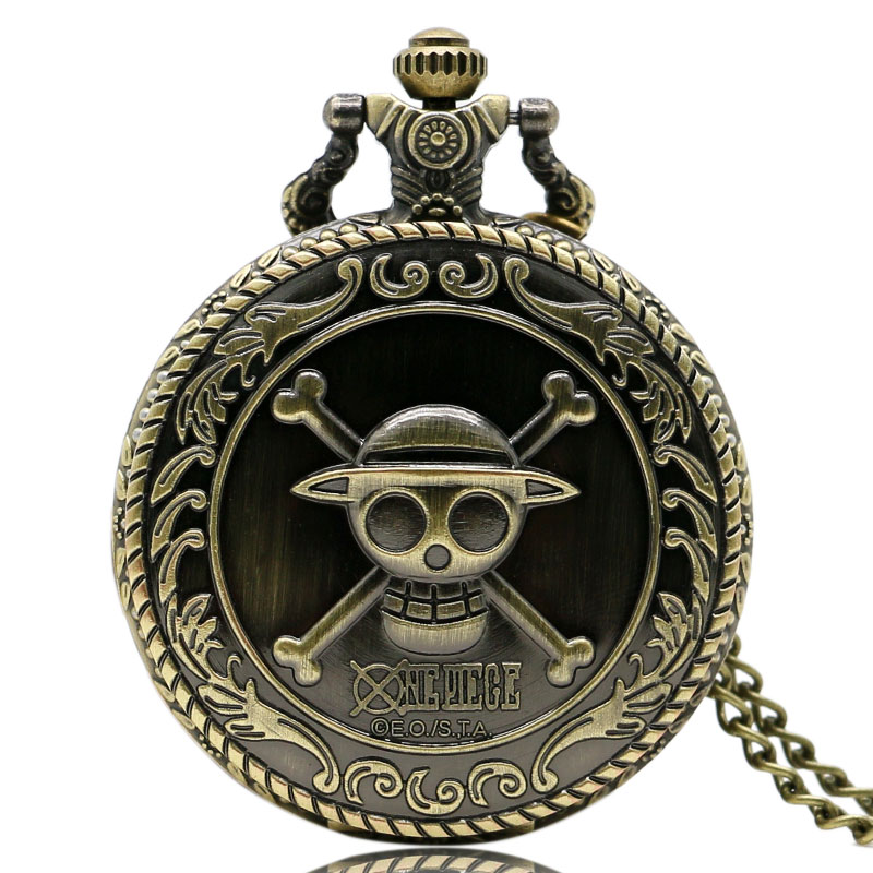 Vintage Bronze Pirate Skull Luffy One Piece Quartz Pocket Pendant Watch Mens Gift Cool Cosplay For Children