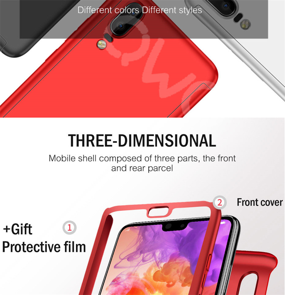 360 Degree Full Protective Phone Case For Huawei P20  P20 Lite P20 Pro Cover Case For Huawei P20 Lite P10 P10 Lite P10 Plus Mate 10 Lite Mate 10 Pro Matte Shell Tempered Glass 4