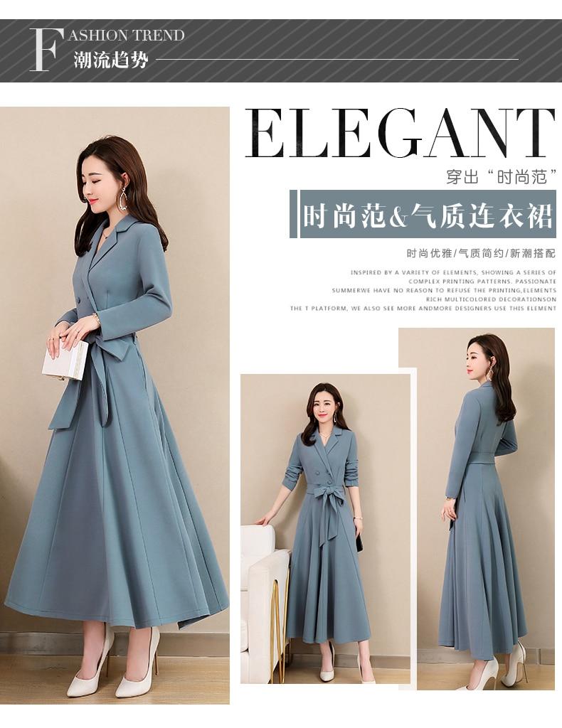 Spring and Autumn 2019 New Women's Dresses Korean Edition Long Sleeve Dresses Overlap Long Popular Temperament with Bottom 111